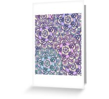 Aqua, Pink and Purple Doodled Pattern Greeting Card