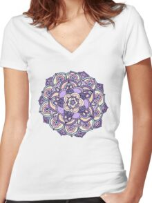 Aqua, Pink and Purple Doodled Pattern Women's Fitted V-Neck T-Shirt