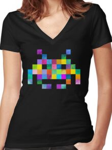 Cubist Invader Women's Fitted V-Neck T-Shirt