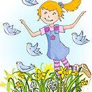 Spring in the air whimsical girl by Sarah Trett