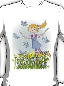 Spring in the air whimsical girl T-Shirt