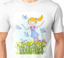 Spring in the air whimsical girl Unisex T-Shirt