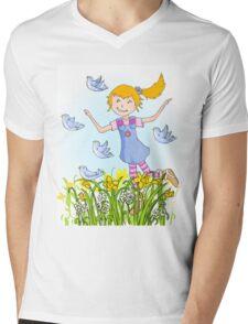Spring in the air whimsical girl Mens V-Neck T-Shirt