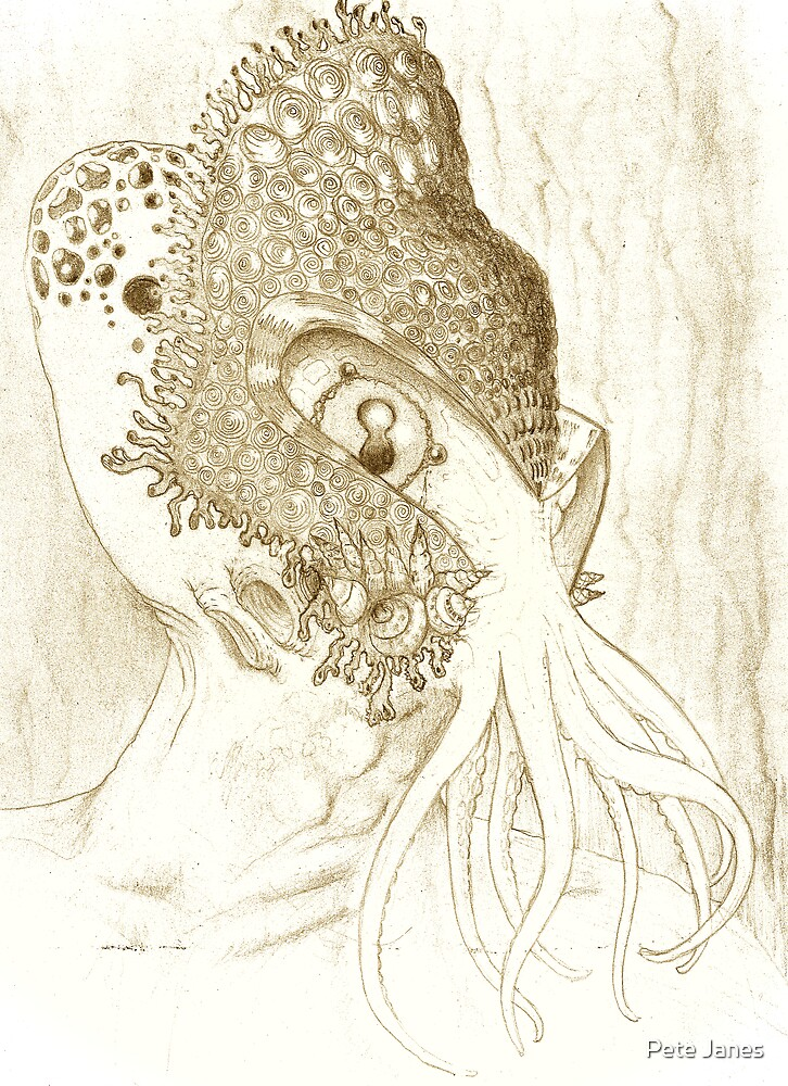 Minion of Cthulhu in Ceremonial Mask sketch by Pete Janes