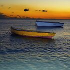Boats after sunset by JandeBeer