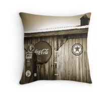 """""""Old Fire Chief Gas Pump In Sepia"""" Throw Pillow"""
