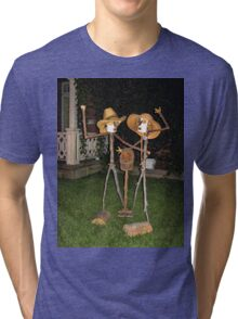 FUNNY HUMEROUS HOME MADE STATUES SERIES FOUR PICTURE -PILLOWS -TOTE BAG ECT (MY FAVORITE LOL) Tri-blend T-Shirt