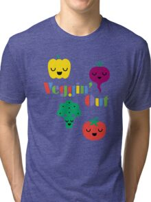 Veggin' Out (colored type) dark Tri-blend T-Shirt