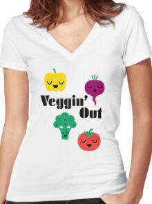 veggin' Out (black type)  Women's Fitted V-Neck T-Shirt