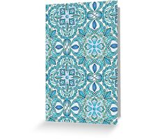 Colored Crayon Floral Pattern in Teal & White Greeting Card