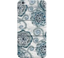 Shabby Chic Navy Blue doodles on Wood iPhone Case/Skin