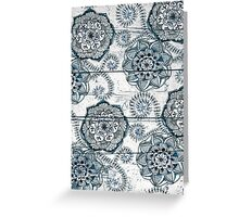 Shabby Chic Navy Blue doodles on Wood Greeting Card
