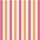 Pink and Orange and White Striped Throw Pillow by Natalie Kinnear