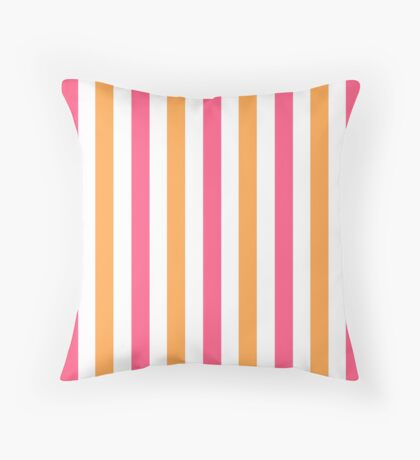 Pink and Orange and White Striped Throw Pillow Throw Pillow