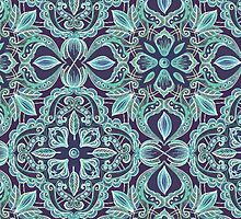 Chalkboard Floral Pattern in Teal & Navy by micklyn