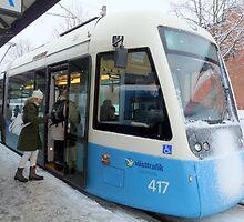 Blue Tram of Gothenburg in Winter Weather by HELUA