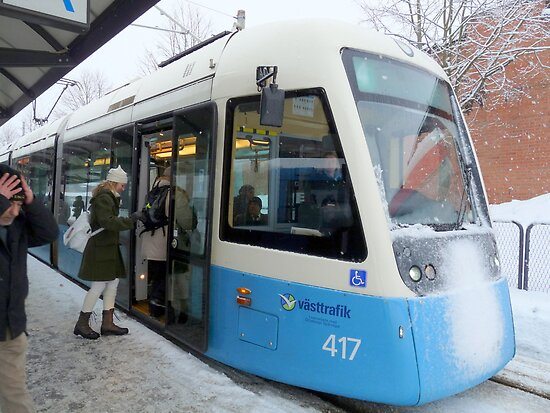 Blue Tram of Gothenburg in Winter Weather by HELUA