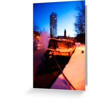 Winter Barge Greeting Card