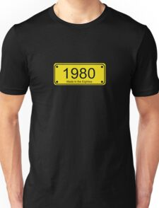 Made in the 1980s Number License Plate T-Shirt ~ Born in the Eighties Unisex T-Shirt