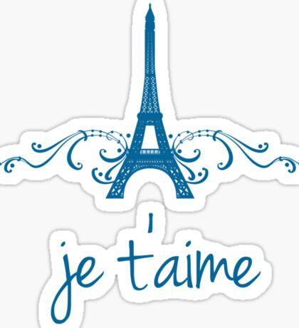 Blue Vintage French Flourish Sticker