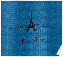 Blue Vintage French Flourish Poster