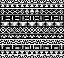 Aztec Influence Pattern II White on Black by NataliePaskell