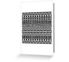 Aztec Influence Pattern II White on Black Greeting Card