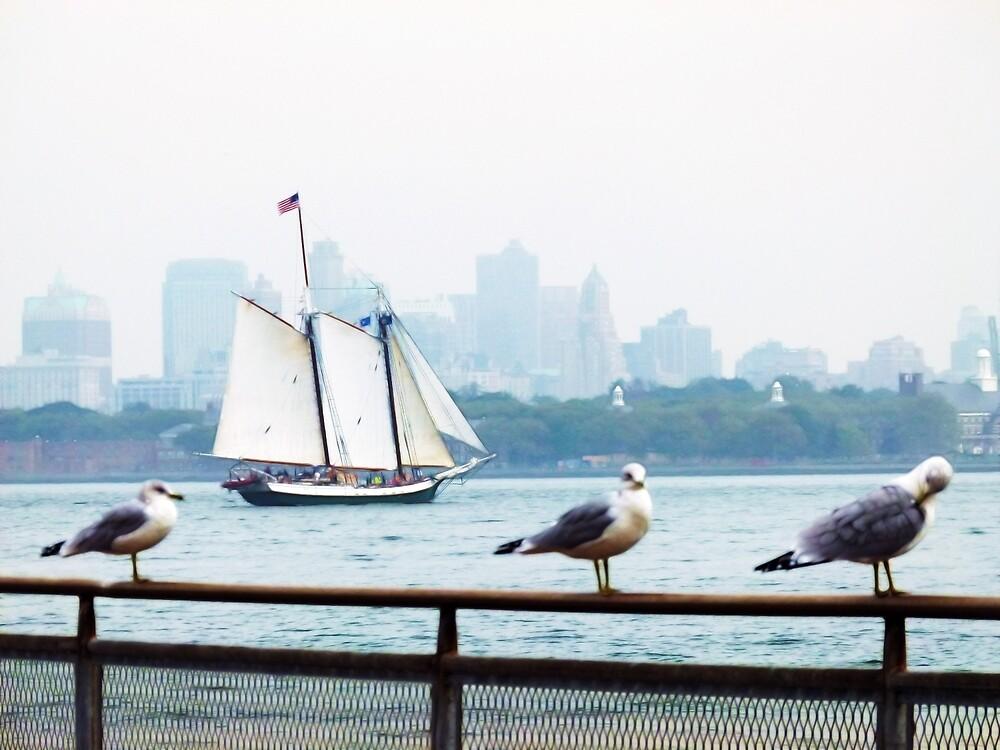 Skyline with Seagulls by Benedikt Amrhein