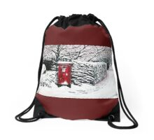 The Red Post Box  Drawstring Bag