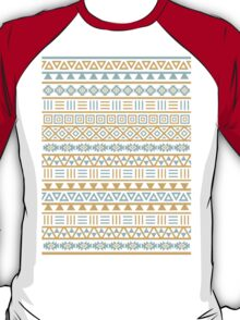 Aztec Influence Pattern II Blue and Gold on White T-Shirt