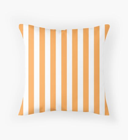 Orange and White Striped Throw Pillow Throw Pillow