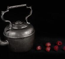Antique Teapot and Fresh Raspberries by Jeffrey  Sinnock