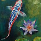 Shusui Koi and Water Lily by Michael Creese