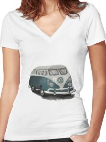 VW Camper Van Women's Fitted V-Neck T-Shirt