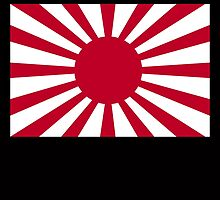 War flag, Imperial Japanese Army, The Rising Sun Flag, Japan, Japanese, WWII, on Black by TOM HILL - Designer