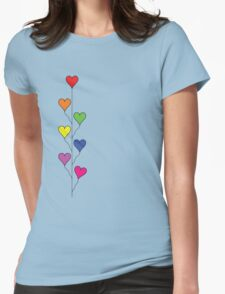 Seven Rainbow Colored Heart Balloons  Womens Fitted T-Shirt