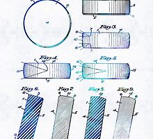 Blue Hockey Art - Hockey Puck Patent - Sharon Cummings by Sharon Cummings