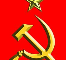 RUSSIA, USSR, Communist, Soviet Union, Hammer & Sickle, GOLD on RED by TOM HILL - Designer