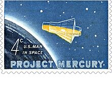 USA Project Mercury Postage Stamp by ukedward