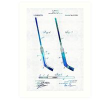 Blue Hockey Stick Art Patent - Sharon Cummings Art Print
