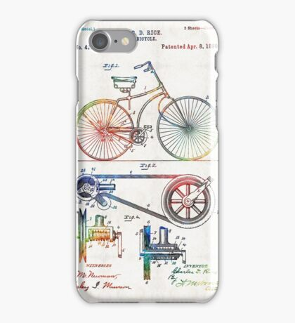 Colorful Bike Art - Vintage Patent - By Sharon Cummings iPhone Case/Skin