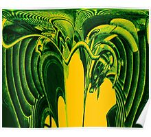 Psychedelic Green Aliens Poster