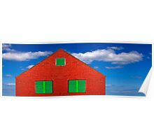Red House With Green Shutters Poster