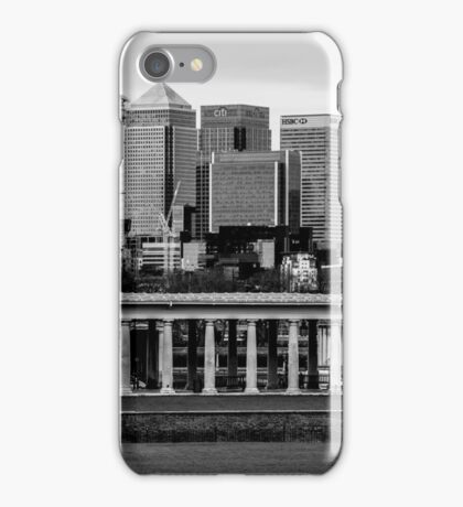 Old Royal Naval College, Greenwich set against Canary Wharf, London iPhone Case/Skin