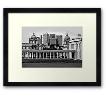 Old Royal Naval College, Greenwich set against Canary Wharf, London Framed Print
