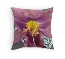 Light Maroon Daylily with Yellow Centre. Throw Pillow
