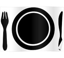 Knife, fork and plate. Poster
