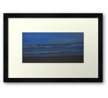 Luminous - the sun sets at Ocean Beach Framed Print