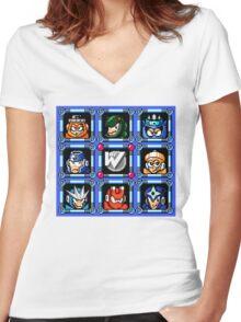 Megaman 3 Boss Select Women's Fitted V-Neck T-Shirt