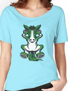 Horse Chilling Green and White  Women's Relaxed Fit T-Shirt